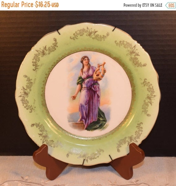 Delayed Shipping Austria Merkelsgrun Porcelain Plate Vintage Grecian Plate Early Century Decorative Plate Grecian Lady Gilded Plate with Han