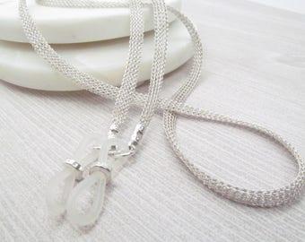 Metal ribbon silver eyeglass chain; Reading Glasses Holder Necklace; Glasses Leash; Silver Glasses Chain; Glasses Lanyard; kalxdesigns