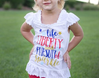 Girl Fourth of July Shirt -  Red White and Blue Shirt - 4th of July Shirt Girl - 4th of July Outfit - 4th of July Kids -Life Liberty Sparkle