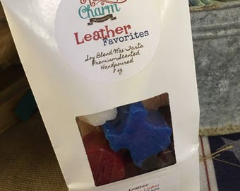Leather Favorites Blend Scents Hand made Soy Blend Wax Melts Tarts Rustic Charm