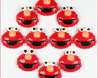 Lot 10pcs the Sesame Street Elmo Resin Cabochon Flatbacks Flat Back Scrapbooking Hair Bow Center Crafts Making Embellishments DIY