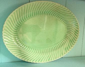 Antique Vintage Shabby Chic Mint Green Serving Platter
