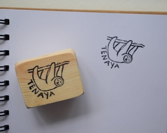 Sloth Stamp- Sloth Bookplate- Latex Free Rubber Stamp Hand Carved Mounted on Reclaimed Wood- Name Stamp for Books- Book Stamp- Sloth Lover