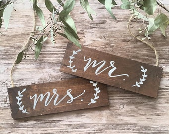 mr. & mrs. wedding signs / wedding chair signs / wooden hanging signs.