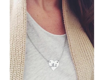 Handstamped personalized heart necklace with initials or anniversary date