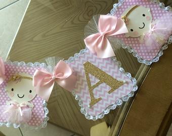 Pink and gold baby shower banner/Ballerina baby shower banner