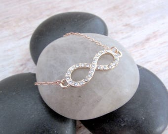 Dainty Rose Gold Infinity Bracelet - Infinity Bracelet for Her - Anniversary Gift for Her  - Girlfriend Gifts Under 20 - Everyday Jewelry