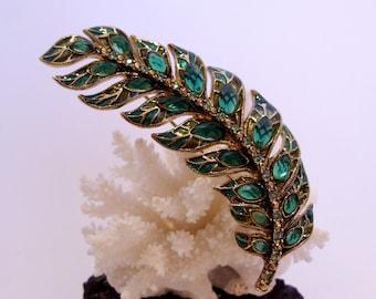 Large MONET Green Rhinestone and Enamel Fern Leaf Brooch Beautiful Woman's Gift