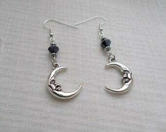 silver moon earrings fashion accessories for women silver earrings dropper earrings pagan jewellery black bead earrings dangle earrings gift