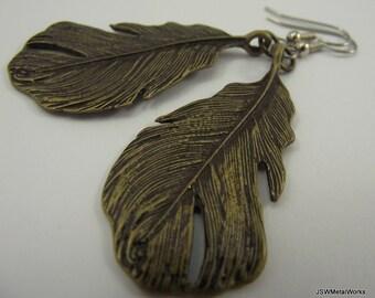 Bold Antiqued Brass Feather Earrings, Brass Earrings