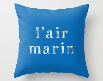 Ocean Pillow Cover, French Quote Pillow cover, Nautical Beach Pillow Cover, Beach Decor, Blue Surf Sea Pillow cover, ocean house decor