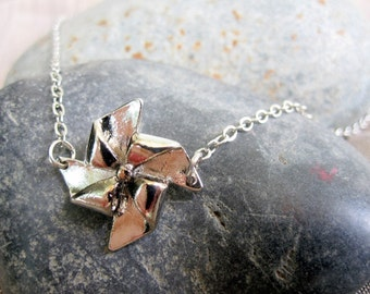 Silver Paper Pinwheel Necklace Windmill - CLEARANCE SALE