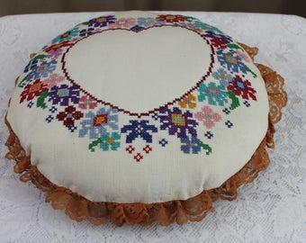 Antique Cross Stitch Pillow Floral Heart