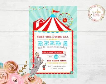 PeeWee, Big Top PeeWee, Circus  Invitation