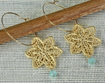 Gold Lace Hoop Earrings - Reserved for Sharon