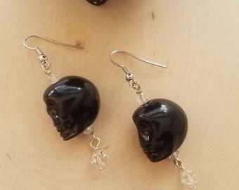 Large Howlite Skull Earrings Embellished w/ White Swarovski Crystals-/ Birthday / Halloween / Dia De Los Muertos / Gift / Earrings