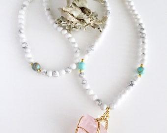108 Mala Necklace, Mala Necklace, Prayer Beads, Mala, Rose Quartz, Mala beads, Yoga gift, 108 Mala beads, Japa Mala, Yoga jewelry, MNHQ