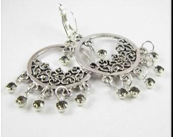 Silver Filigree Hoop Earrings, Rhinestone Earrings, Dangle Drop Rhinestone Earrings