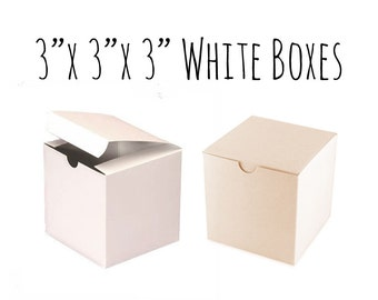 "White Boxes 3 x 3 x 3"" Square, 25 To 50 Pack of Wedding Favor Boxes, Gift Box, Cupcake Box, Smooth White Cardboard Box, Candy Box, Wedding"