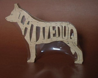 Cattledog Heeler Dog Puzzle Wooden Toy Hand Cut with Scroll Saw