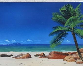 Seascape with palmtree and rocks, contemporary realism,sea scene,  sand, palmtree scene, blue heaven, blue sky