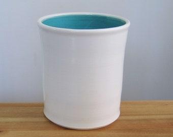 Ceramic Utensil Crock In White and Blue, Stoneware Pottery Utensil Holder, Ceramic Utensil Caddy, Kitchen Organizer, Chef Gift, Storage