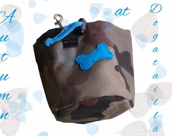 Camouflage treat bag with a colourful bone
