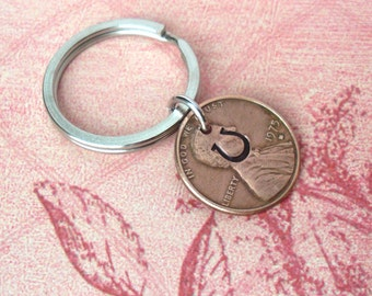 Lucky Horseshoe Penny Keychain. Includes 1 word .. U.S. Coins nickel dime. hand-stamped, custom phrase, date, name stamped. Love Anniversary