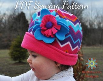 Fleece Hat, Sewing Pattern, PDF Pattern, Baby Hat Pattern, Girls Hat Pattern, Boys Hat Pattern, Winter Hat, Knit Hat Sewing, Hat Sewing PDF