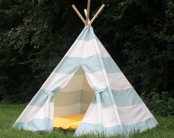 Childrens Teepee, Seafoam, Two Sizes, Play Tent, READY TO SHIP, Can Include Window, Tee Pee, Playhouse, Fully Assembled Tent For Kids