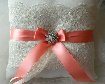 Wedding Ring Bearer Pillow Coral And Ivory Satin And Lace Ringbearer Pillow