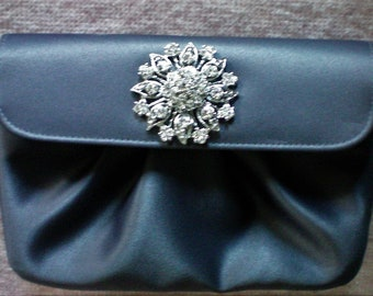 Gray Satin Evening Clutch Bag with Bling! - 5899