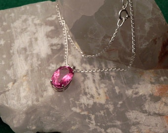 """16x12mm Pink Topaz & Sterling Silver 18"""" Necklace"""