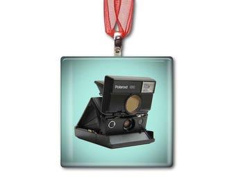 Polaroid 690 Camera - Handmade Glass Photo Ornament