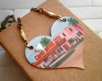 Big Heart Capri Motel Postcard Collage Bib Necklace - Upcycled Paper Heart Cabochon Pendant - Kitschy Assemblage Jewelry Retro Gift For Her