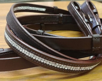 Double Rhinestone Leather Sparkle Reins Dressage Eventing Jumpers