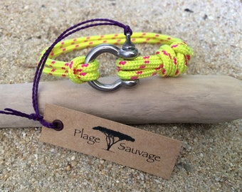 Men bracelet Beach wild Manila Lyre stainless steel 4 mm and 3 mm yellow cord