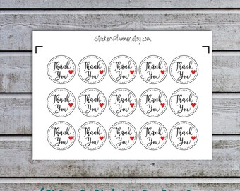 15 Thank You Stickers Labels Round Circle Stickers Thank You Labels Packaging Stickers Packaging Labels Favor Stickers Favor Labels (ic3)