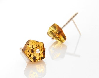 Minimalist stud earrings Geometric Baltic amber Sterling silver Girlfriend gift Studs Gift for her Gift for women Best friend wife gift