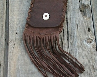 Leather belt bag , Leather phone case ,  Leather phone bag , Fringed leather belt bag