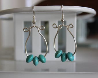 Earrings, Magnesite on Silver Plated Wire