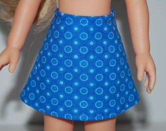 "Blue Dots A-Line Skirt Doll Clothes Corolle 13"" Les Cheries 14"" Hearts for Hearts Betsy McCall  tkct930"