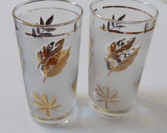 Libbey Gold Leaf Frosted Vintage Tumblers Foiled Maple Leaf 2 glasses