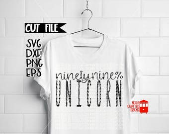 Unicorn Svg - 99% Unicorn - Ninety Nine Percent Unicorn - Adult Unicorn Svg - Trendy Svg - Hipster Svg - Unicorn Lover Svg - Silhouette File