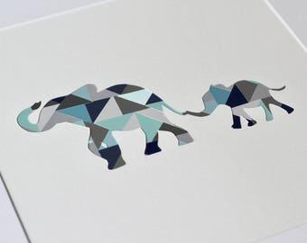 Elephant and Baby - Modern Nursery Decor and Wall Art
