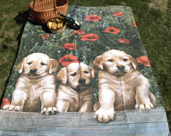 Picnic blanket Puppies Dogs Digital photo print Waterproof  XL picnic blanket and BAG , outside beach summer cotton picnic blanket, Eco GIFT