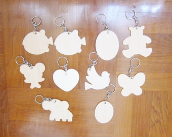 Wood Key Chain, Kids Party Gifts, Kids Craft Supplies, Set of 10 DIY Blank Keyrings, wholesale wood craft