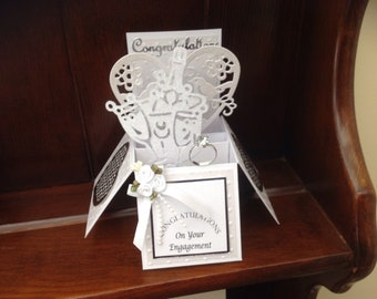 Beautiful Handmade Engagement Pop up Card