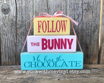 Easter Bunny blocks, follow the bunny blocks, Easter blocks, Easter decor, bunny block, Easter bunny decor, Easter sign, spring sign,