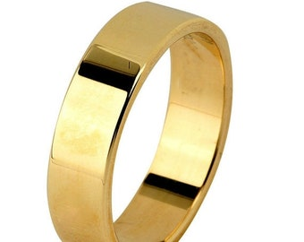 Mothers Day Sale 14 kt  Yellow Gold Classic Smooth Cigar Style 4mm Wide Commitment or Wedding Band Custom made Size 8.5 through 12